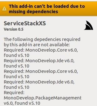 Servicestack XS requires monodevelop 6 0 - ServiceStack