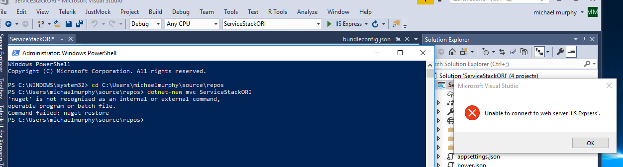 Unable to connect to web server IIS Express - ServiceStack